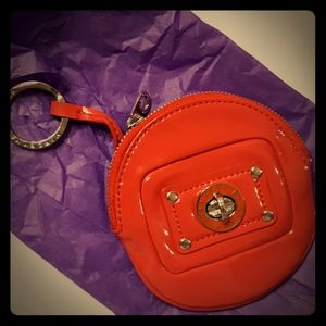 Marc Jacobs*Bright Red Patent Mini Zip coin Keycha